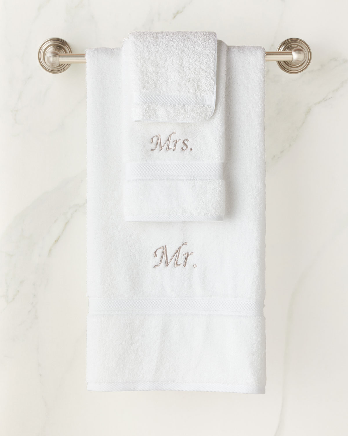 "The Pillow Bar ""Mr. and Mrs."" Six-Piece Cotton Towel Set"