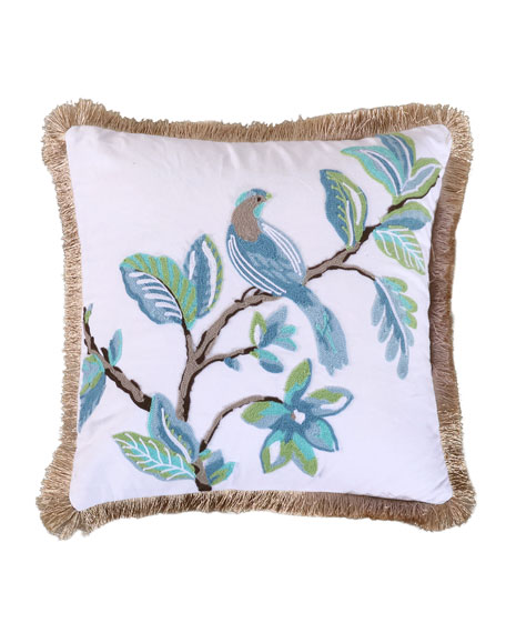 Levtex Cressida Bird Pillow with Fringe Trim