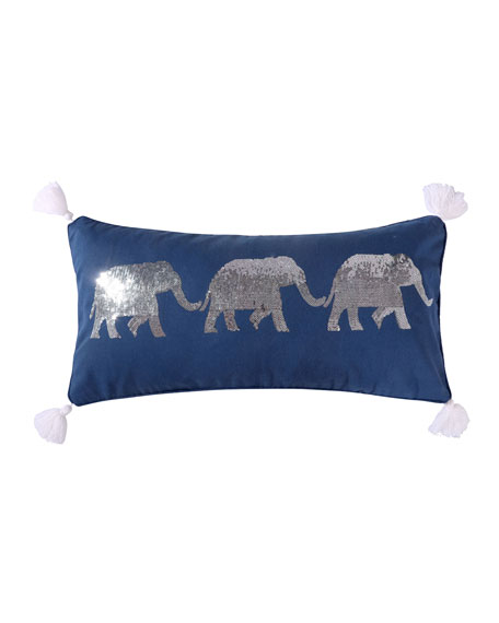 Levtex Giselle Sequin Elephants Pillow with Tassels