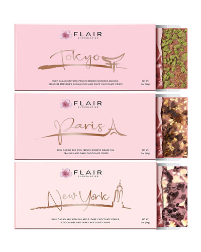 Set of New York  Paris and Tokyo Ruby Cacao Bars