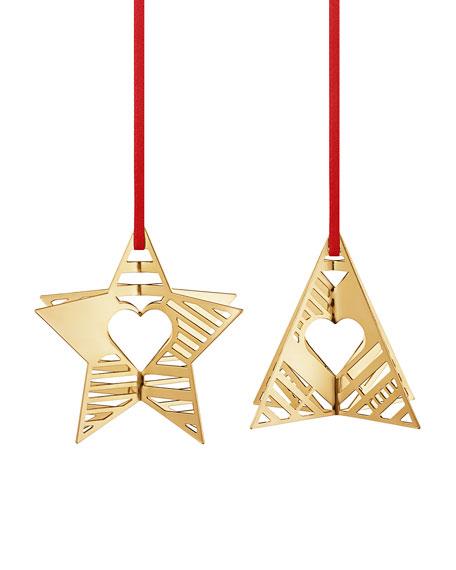 Georg Jensen 18K Gold Plate Star & Tree Holiday Ornaments