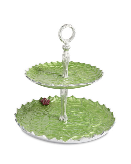 "Julia Knight Holly Sprig 11.5"" Two-Tiered Server"
