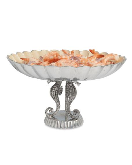 "Julia Knight Sea Horse 14"" Pedestal Bowl"