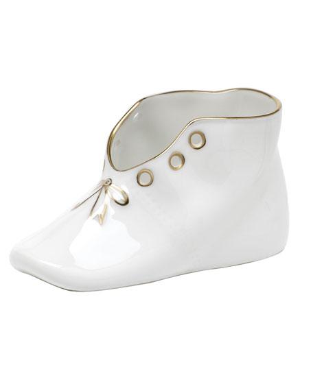 Herend Golden Edge Porcelain Baby Shoe Keepsake