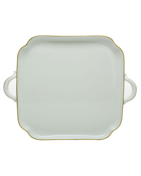 Herend Golden Edge Square Tray with Handles