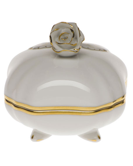 Herend Golden Edge Covered Bonbon with Rose