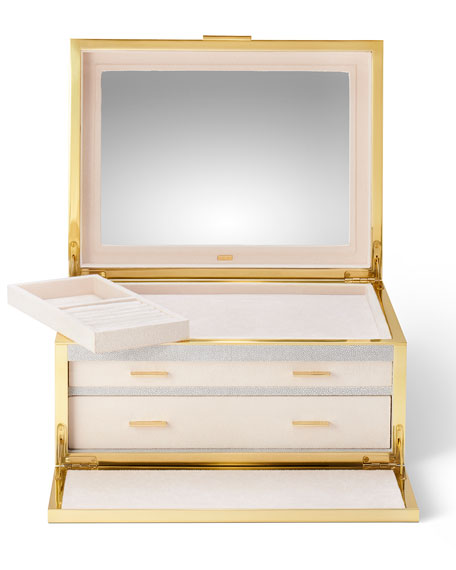 Image 3 of 4: AERIN Luxe Shagreen Jewelry Box