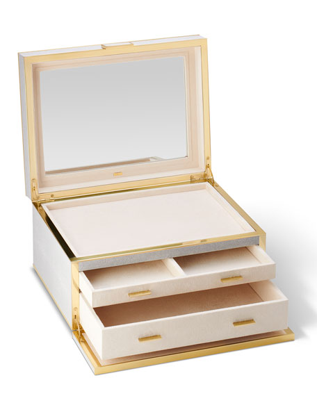 Image 4 of 4: AERIN Luxe Shagreen Jewelry Box