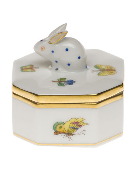 Herend Queen Victoria Green Small Octagonal Bunny Box