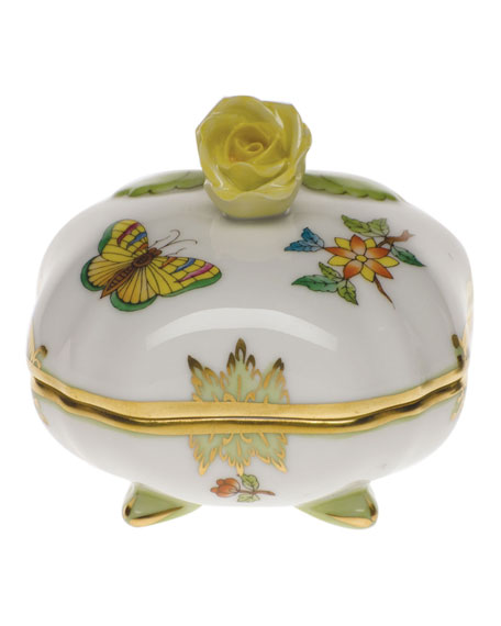 Herend Queen Victoria Green Covered Bonbon with Rose Finial