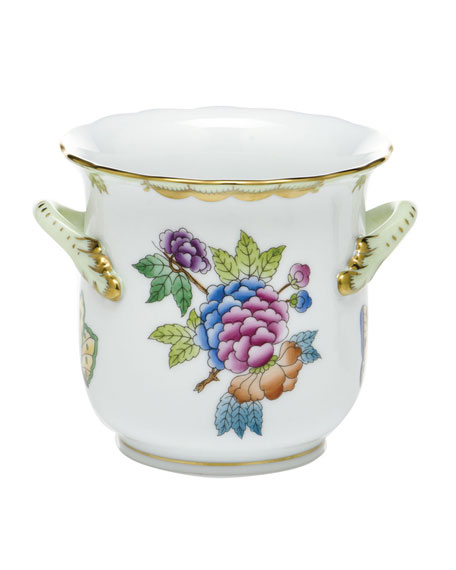 Herend Queen Victoria Green Mini Cache Pot with Handles