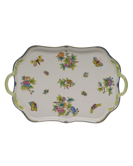 Herend Queen Victoria Blue Rectangular Tray with Branch Handles
