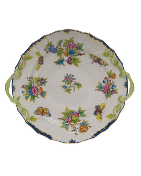 Herend Queen Victoria Blue Chop Plate with Handles