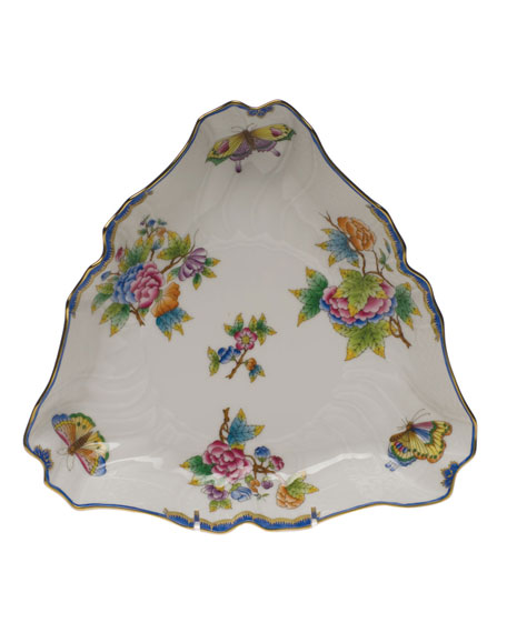 Herend Queen Victoria Blue Triangle Dish