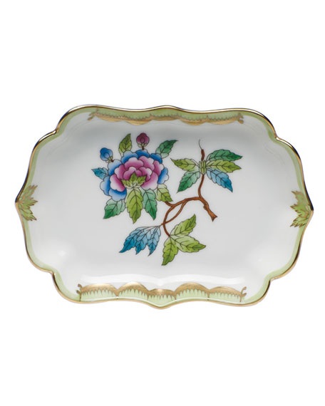 Herend Queen Victoria Green Mini Scalloped Tray