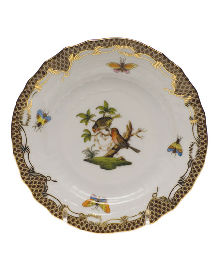Herend Rothschild Bird Brown Motif 10 Bread & Butter Plate