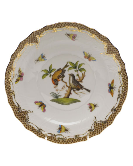 Herend Rothschild Bird Brown Motif 12 Salad Plate