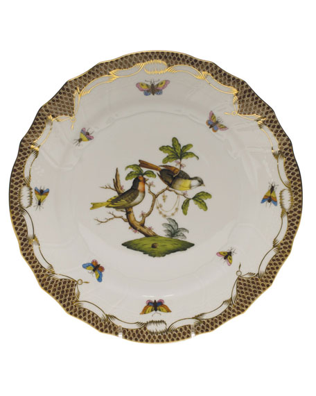 Herend Rothschild Bird Brown Motif 11 Dinner Plate