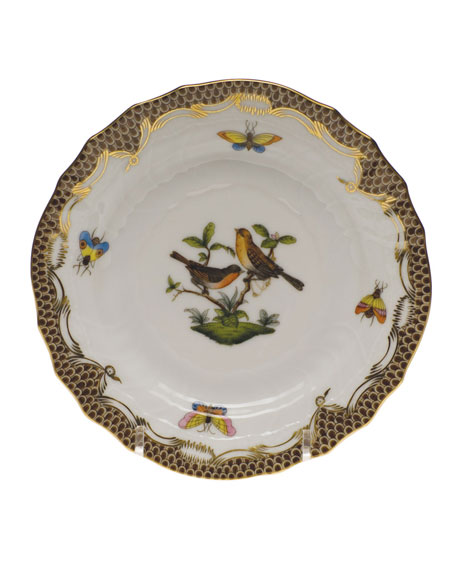 Herend Rothschild Bird Brown Motif 09 Bread & Butter Plate