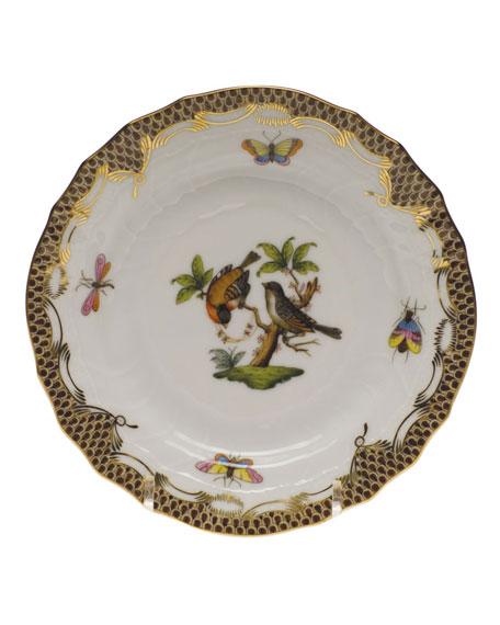 Herend Rothschild Bird Brown Motif 12 Bread & Butter Plate