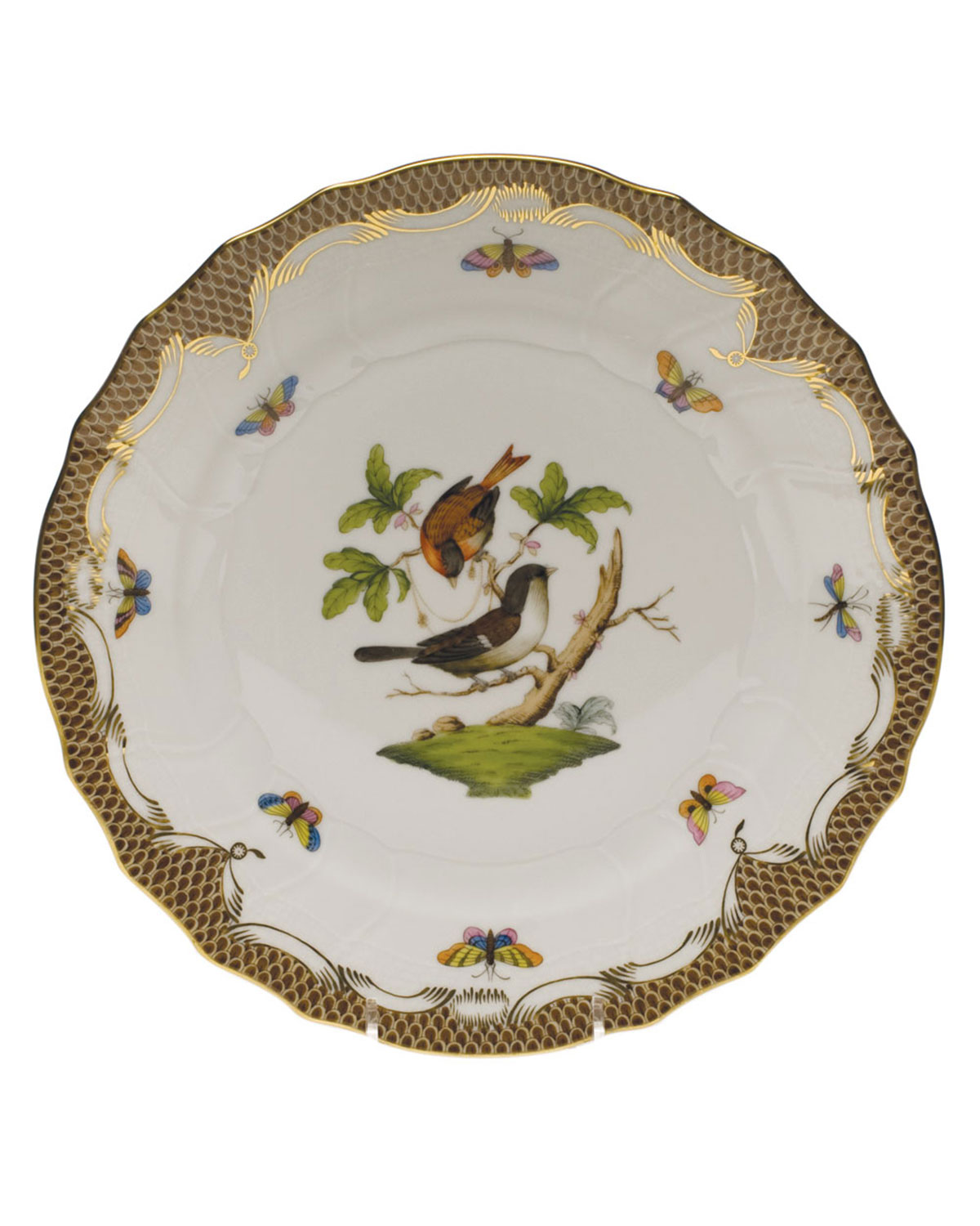 Herend Rothschild Bird Brown Motif 04 Dinner Plate