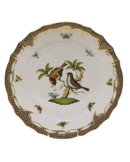 Herend Rothschild Bird Brown Motif 12 Dinner Plate
