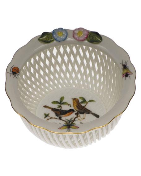 Herend Rothschild Bird Openwork Basket with Flowers