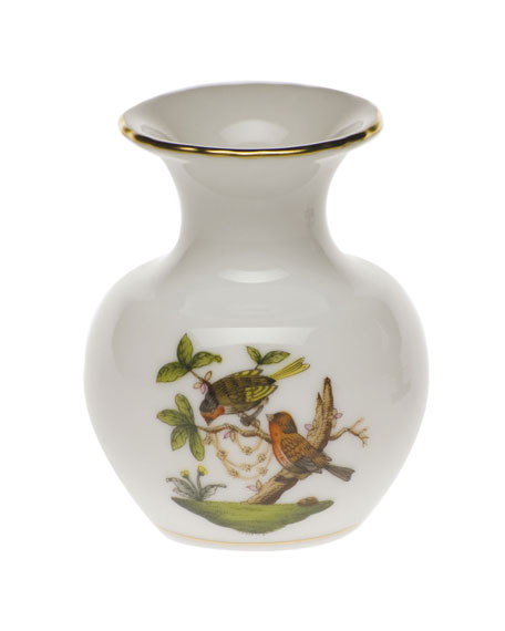 Herend Rothschild Bird Medium Bud Vase with Lip