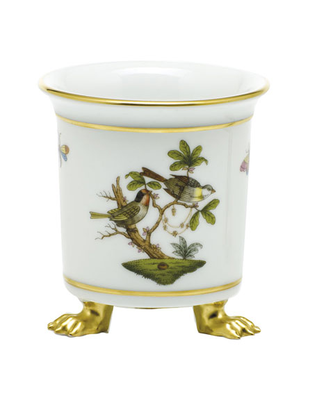 Herend Rothschild Bird Mini Cache Pot with Feet