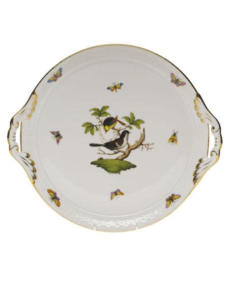Herend Rothschild Bird Round Tray with Handles