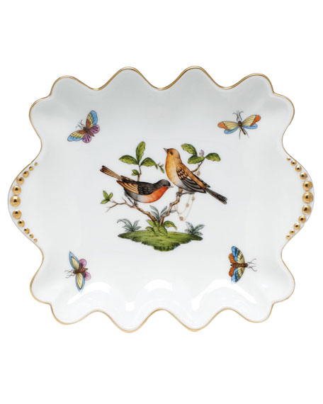 Herend Rothschild Bird Small Dish with Pearly Handles