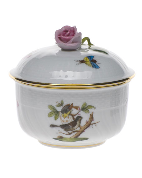Herend Rothschild Bird Covered Sugar Dish with Rose