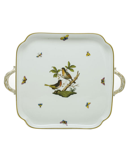 Herend Rothschild Bird Square Tray with Handles