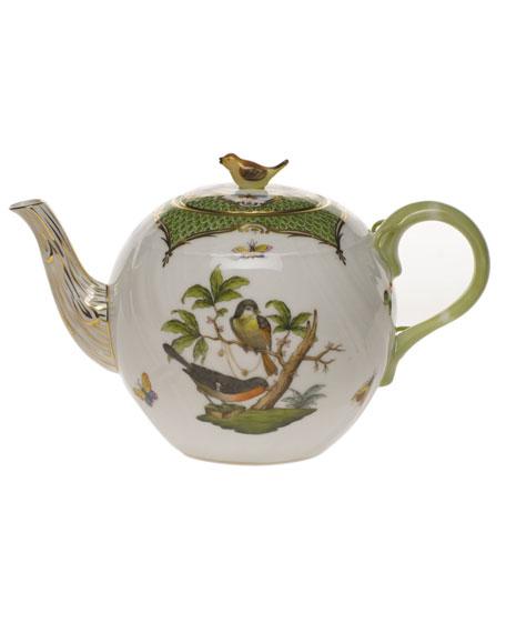 Herend Rothschild Bird Green Border Tea Pot with Bird