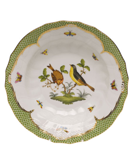 Herend Rothschild Bird Green Motif 07 Rim Soup Bowl