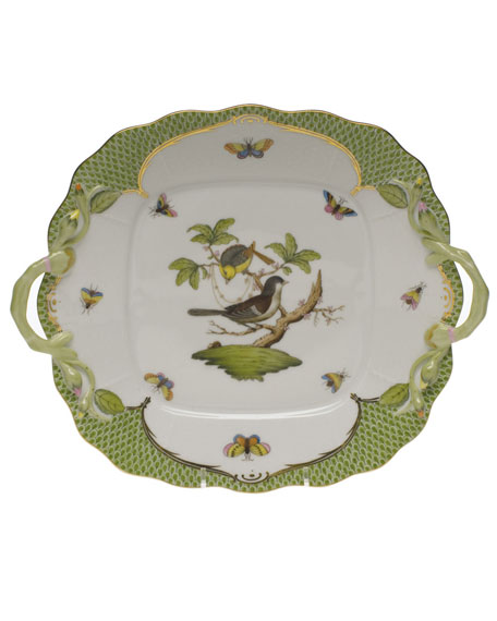 Herend Rothschild Bird Green Square Cake Plate with Handles
