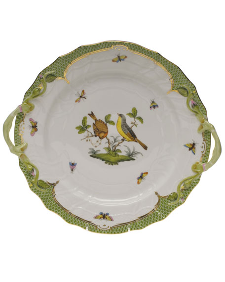 Herend Rothschild Bird Green Chop Plate with Handles