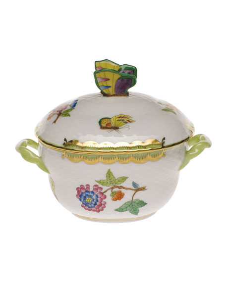 Herend Queen Victoria Green Covered Bonbon with Butterfly Finial