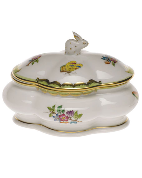 Herend Queen Victoria Covered Porcelain Bonbon Box with Bunny