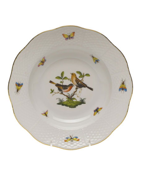 Herend Rothschild Bird Motif 9 Rim Soup Plate