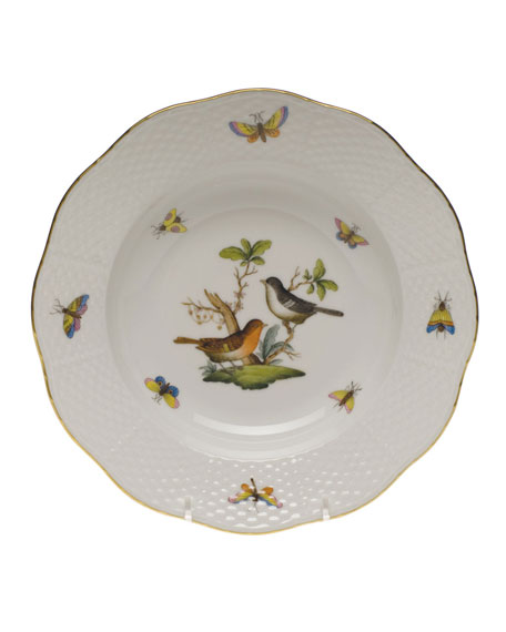 Herend Rothschild Bird Motif 5 Rim Soup Plate