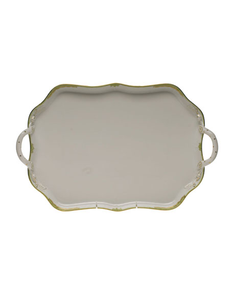 Herend Princess Victoria Green Rectangle Tray with Branch Handles