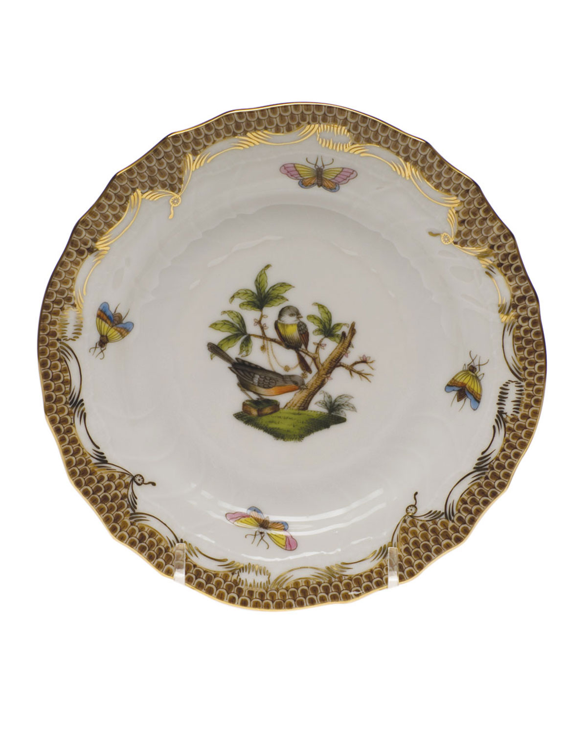 Herend Rothschild Bird Brown Motif 2 Bread & Butter Plate