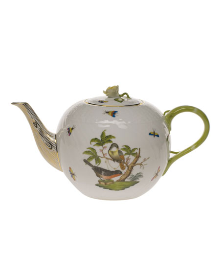 Herend Rothschild Bird Large Teapot with Rose
