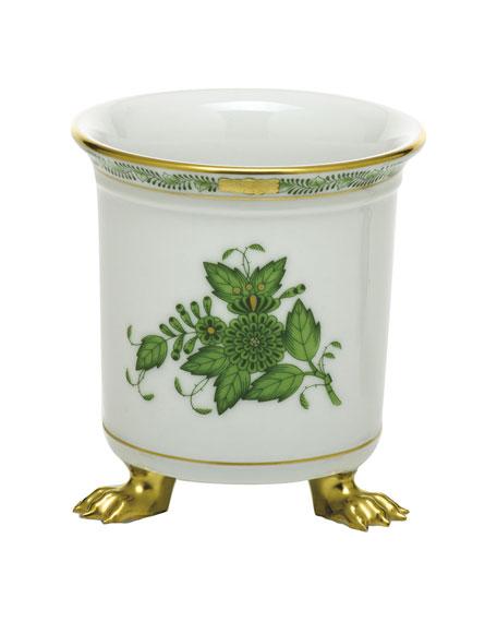 Herend Chinese Bouquet Green Mini Cachepot wFeet