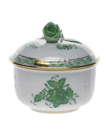 Herend Chinese Bouquet Green Covered Sugar Dish with Rose