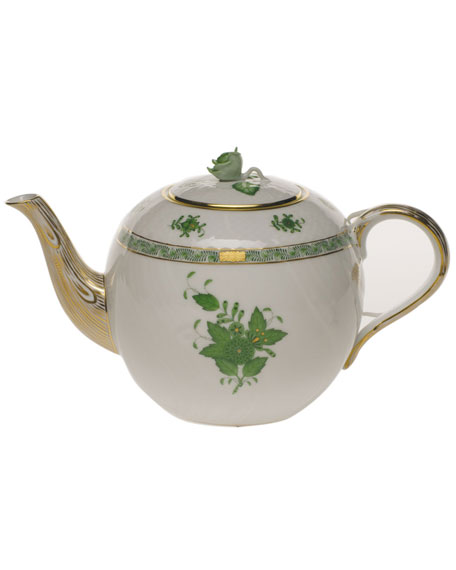 Herend Chinese Bouquet Green Teapot with Rose
