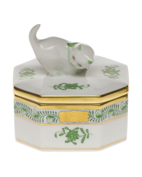 Herend Chinese Bouquet Green Small Octagonal Cat Box