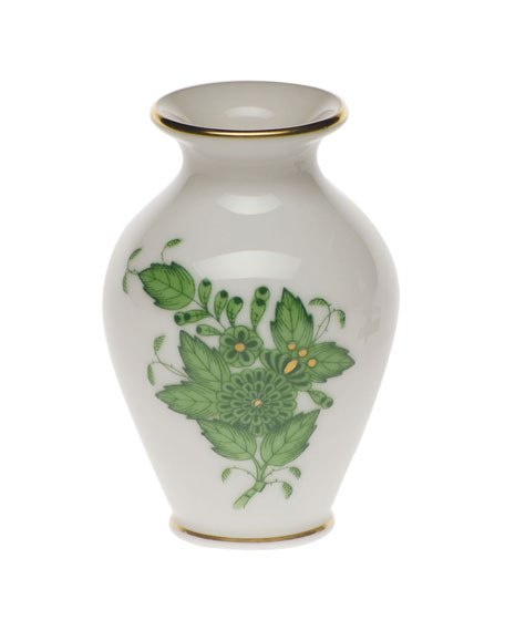Herend Chinese Bouquet Green Small Bud Vase with Lip