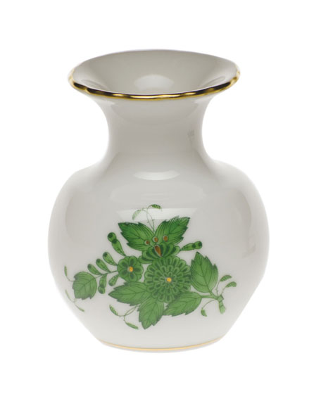 Herend Chinese Bouquet Green Medium Bud Vase with Lip